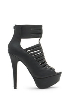 Slit Right In Faux Leather Platform Heels