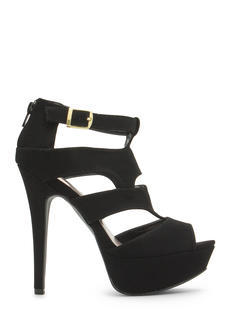 Say What Faux Nubuck Cut-Out Heels