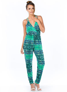 Tribal Print-cess Surplice Jumpsuit