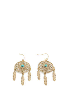 Beaded Center Dreamcatcher Earrings