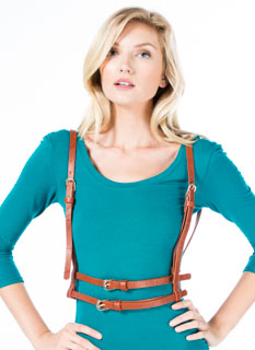 Faux Leather Double Belted Suspenders