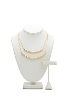 Curved Tubes Layered Necklace Set