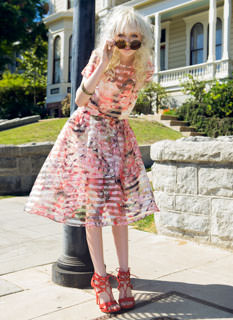 Sheer Play Floral Organza Skirt