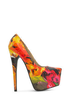 Faux Patent Leather Brushstroked Heels