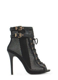Pretty Mesh Faux Leather Lace-Up Booties