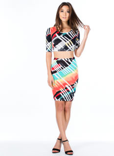 Lucky Streaks Abstract Combo Dress
