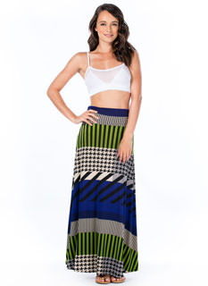 Stripe 'N Houndstooth Maxi Skirt