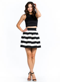 Contrast Striped Skater Skirt