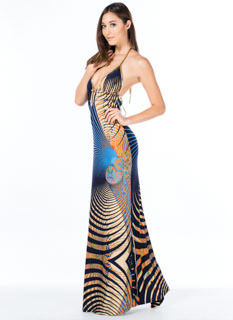Abstract Paisley Halter Maxi Dress
