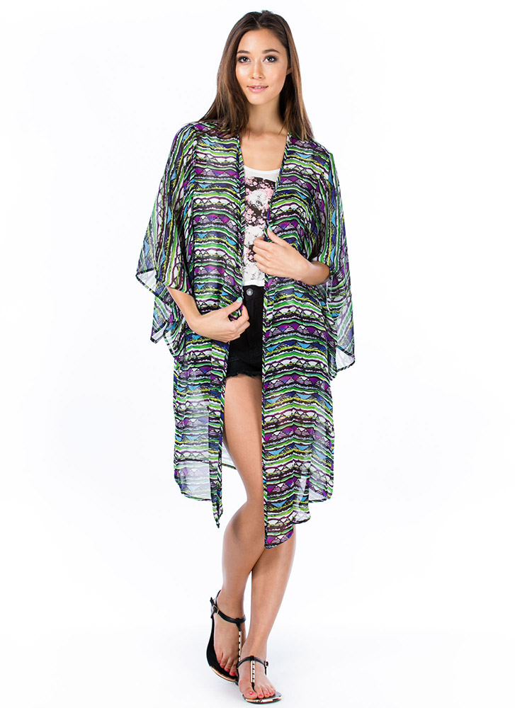 Tribe And True Triangle Print Kimono