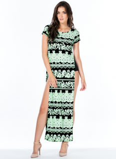 Neon Filigree Double Slit Maxi Dress