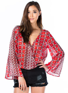 Moroccan Getaway Surplice Cropped Top