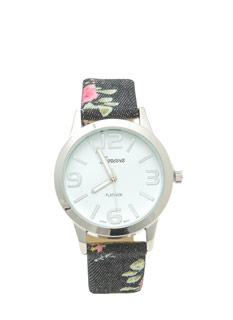 Vintage-Inspired Floral Print Watch