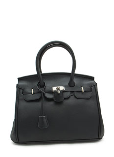 Locked Up Pebbled Faux Leather Satchel