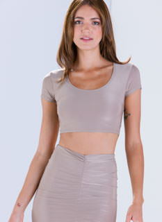 Sleek Attack Short Sleeve Cropped Top