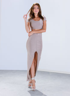 Sleek Attack Ruched Slit Maxi Skirt