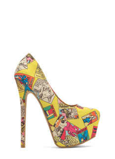 Cosplay Comic Print Platform Pumps