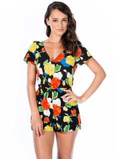 Outlined Roses Cut-Out Romper