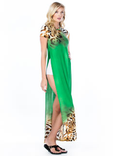 Blending In Double Slit Leopard Maxi
