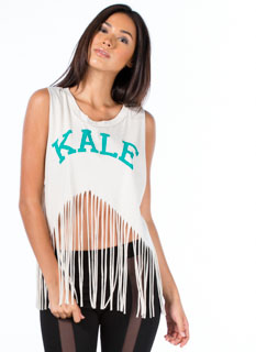 Kale University Shredded Fringe Tank