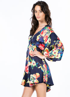 Tropical Floral Kimono Dress