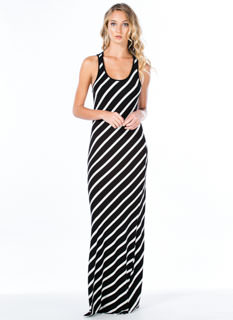 On A Slant Diagonal Striped Maxi