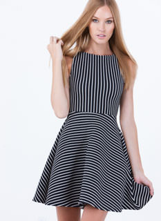 So Nauti Striped Skater Dress
