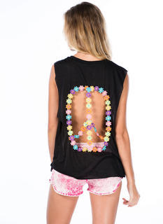 Peace Sign Cut-Out Muscle Tank