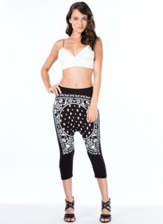 Skull Bandana Drop Crotch Pants