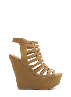 Caged Feet Strappy Cut-Out Wedges