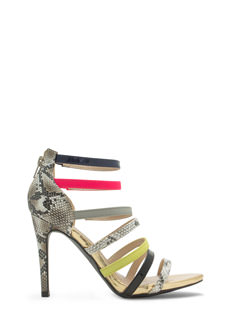 Color Me Bad Strappy Snake Scale Heels