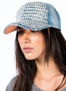 Denim Rhinestones 'N Faux Pearls Hat