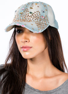 Distressed Denim 'N Rhinestones Hat