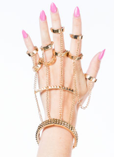 Metallic Spiked Multi-Ring Hand Bracelet