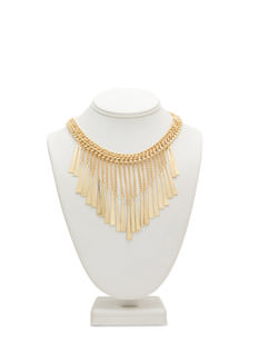 Metal Plate Fringe Necklace