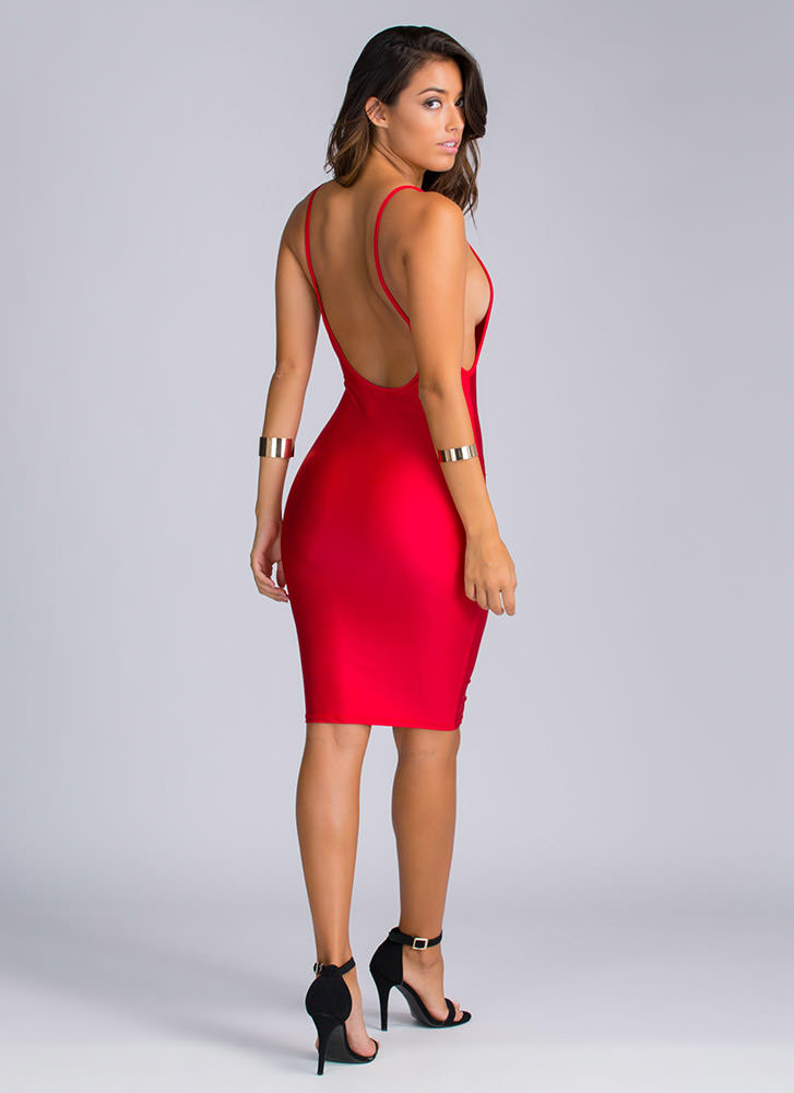 Off The Deep-Cut End Bodycon Dress