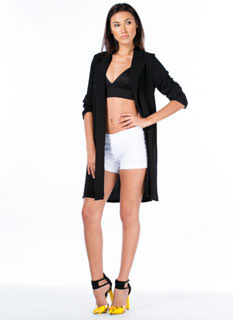 Textured Long Blazer