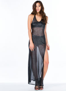 Specks Appeal Sheer Glittery T-Back Maxi
