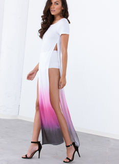 Ombre Double Slit Maxi Dress
