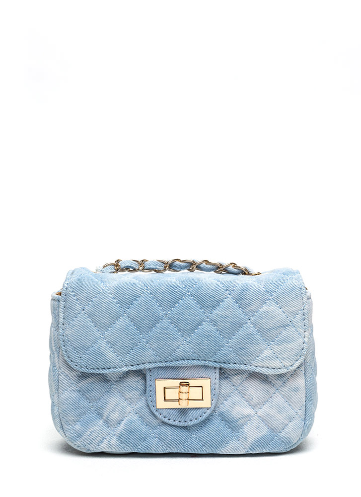 Quilted Denim Twist Lock Clutch