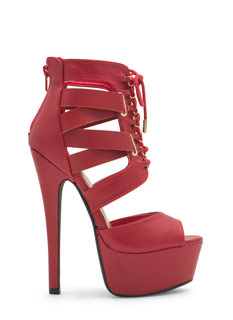 Aim High Lace-Up Platform Heels
