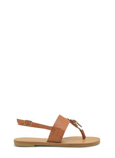 All Buckled In Faux Leather Thong Sandals