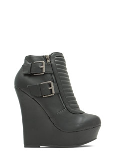 Stitched Moto Buckled Wedge Booties