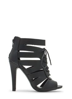 Slit Happens Strappy Lace-Up Heels