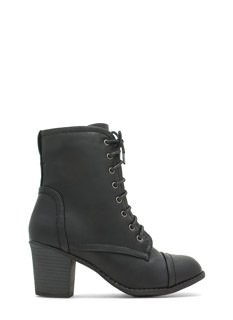 On Edgy Faux Leather Lace-Up Booties