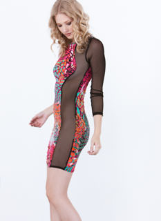 Piece Out Mesh Contrast Hourglass Dress