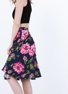 Flower Trip Pleated A-Line Skirt