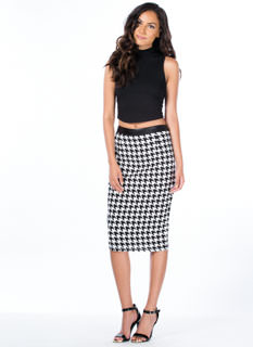 Contrast Houndstooth Pencil Skirt