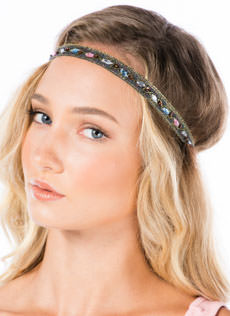 Bejeweled Metallic Paisley Headband