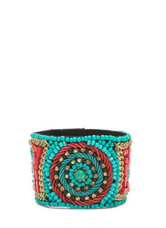 Tribal Beaded Snap Bracelet